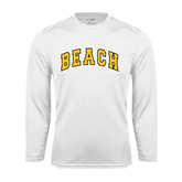 Performance White Longsleeve Shirt-Arched Beach