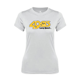 Ladies Syntrel Performance White Tee-49ers Long Beach