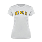 Ladies Syntrel Performance White Tee-Arched Beach