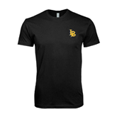Next Level SoftStyle Black T Shirt-Interlocking LB