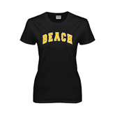 Ladies Black T Shirt-Arched Beach