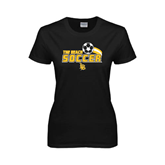 Ladies Black T Shirt-Soccer Swoosh Design