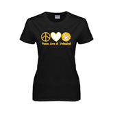 Ladies Black T Shirt-Peace, Love and Volleyball Design