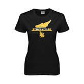 Ladies Black T Shirt-Track and Field Side Shoe Design
