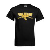 Black T Shirt-Baseball Crossed Bats Design