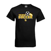 Black T Shirt-Soccer Swoosh Design