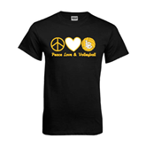 Black T Shirt-Peace, Love and Volleyball Design