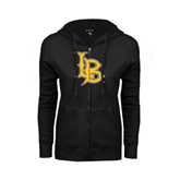 ENZA Ladies Black Fleece Full Zip Hoodie-Interlocking LB