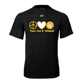 Under Armour Black Tech Tee-Peace, Love and Volleyball Design