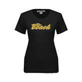 Ladies Black Stretch Scoop Neck-The Beach