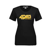 Ladies Black Stretch Scoop Neck-49ers Long Beach