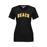 Ladies Black Stretch Scoop Neck-Arched Beach