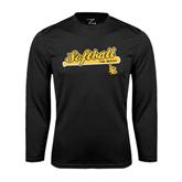 Performance Black Longsleeve Shirt-Softball Bat Design