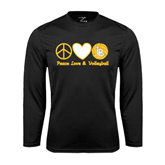 Performance Black Longsleeve Shirt-Peace, Love and Volleyball Design