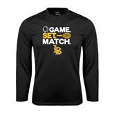 Performance Black Longsleeve Shirt-Game. Set. Match. Tennis Design