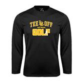 Performance Black Longsleeve Shirt-Golf Golfer Design