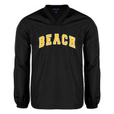 V Neck Black Raglan Windshirt-Arched Beach
