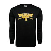 Black Long Sleeve TShirt-Baseball Crossed Bats Design