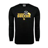 Black Long Sleeve TShirt-Soccer Swoosh Design