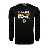 Black Long Sleeve TShirt-Game. Set. Match. Tennis Design