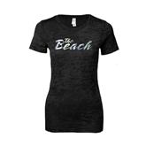 Next Level Ladies Junior Fit Black Burnout Tee-The Beach Foil