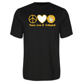 Performance Black Tee-Peace, Love and Volleyball Design