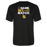 Performance Black Tee-Game. Set. Match. Tennis Design