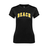 Ladies Syntrel Performance Black Tee-Arched Beach