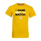 Gold T Shirt-Game. Set. Match. Tennis Design