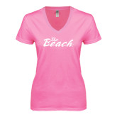 Next Level Ladies Junior Fit Ideal V Pink Tee-The Beach