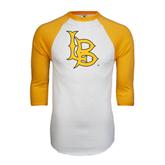 White/Gold Raglan Baseball T-Shirt-Interlocking LB