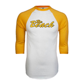 White/Gold Raglan Baseball T-Shirt-The Beach