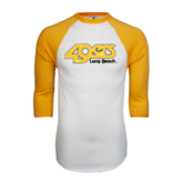 White/Gold Raglan Baseball T-Shirt-49ers Long Beach