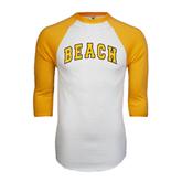 White/Gold Raglan Baseball T-Shirt-Arched Beach