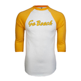 White/Gold Raglan Baseball T-Shirt-Go Beach