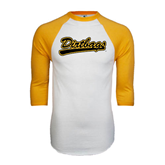 White/Gold Raglan Baseball T-Shirt-Dirtbags
