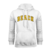 White Fleece Hoodie-Arched Beach
