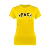 Ladies Syntrel Performance Gold Tee-Arched Beach