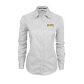 Ladies White Twill Button Down Long Sleeve-Arched Beach