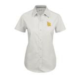 Ladies White Twill Button Up Short Sleeve-Interlocking LB