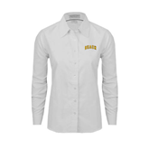 Ladies White Oxford Shirt-Arched Beach