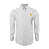 Mens White Oxford Long Sleeve Shirt-Interlocking LB