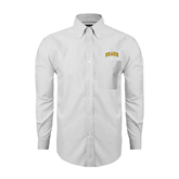 Mens White Oxford Long Sleeve Shirt-Arched Beach