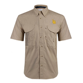 Khaki Short Sleeve Performance Fishing Shirt-Interlocking LB