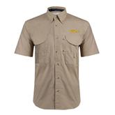 Khaki Short Sleeve Performance Fishing Shirt-The Beach