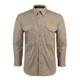 Khaki Long Sleeve Performance Fishing Shirt-Interlocking LB