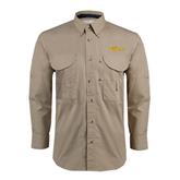 Khaki Long Sleeve Performance Fishing Shirt-The Beach