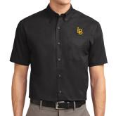 Black Twill Button Down Short Sleeve-Interlocking LB