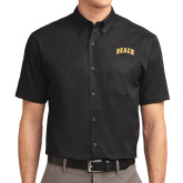 Black Twill Button Down Short Sleeve-Arched Beach