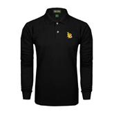 Black Long Sleeve Polo-Interlocking LB